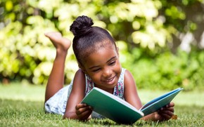 Picture girl, book, lawn