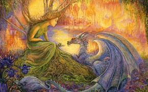 Picture trees, flowers, stream, picture, painting, Josephine Wall, fairy forest, the druids, fantasy world, Josephine Wall, …