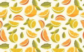 Picture background, lemon, orange, texture, slices