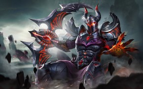 Picture armor, horns, helmet, knight, Arena of Valor