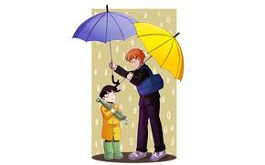 Picture rain, umbrellas, two, by momokairu15