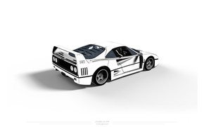 Picture Auto, Minimalism, White, Machine, Background, Ferrari, F40, Art, Ferrari F 40, Ferrari F-40, F-40, Chris …