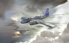 Picture USA, bomber, Attack, Ivan Hurenko, US Airforce, Douglas A-26B Invader