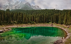 Picture forest, water, clouds, mountains, nature, lake, reflection, stones, shore, tops, ate, Canada, haze, green, pond, …