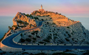Picture road, rock, lighthouse, Spain, Mallorca, Cape Formentor