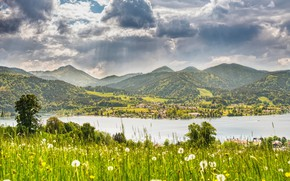 Picture The sky, Nature, Clouds, Mountains, River, Germany, Plants, Nature, Clouds, Sky, River, Beautiful, Germany, Tegernsee, …