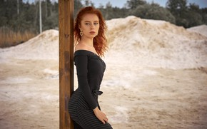 Picture sand, trees, landscape, pose, model, skirt, portrait, post, makeup, figure, hairstyle, blouse, beauty, is, redhead, …