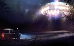 Picture UFO, Night, People, Forest, Fantasy, Art, Art, Spaceship, Fiction, Concept Art, UFO, Spaceship, Vehicles, Science …