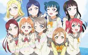 Picture summer, girls, group, Love Live School Idol Project, Living love