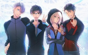 Picture anime, art, guys, Group, Yuri on Ice, Yuri on the ice, Viktor Nikiforov, Yuri Katsuki, …