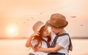 Picture look, sunset, birds, children, boy, friendship, girl, a couple, friends, Yulia Tkachenko