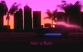 Picture Sunset, Auto, Music, The city, Machine, Style, Background, City, Car, 80s, Style, Neon, Illustration, 80's, …