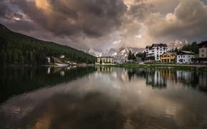Picture morning, reflection, Italy, mountains, nature, Misurina, The Dolomites, Misurina, resort, village, lake, dawn, landscape