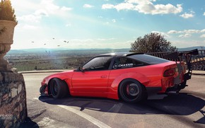 Picture Red, Machine, Tuning, Nissan, Car, Landscape, Render, Rendering, S13, Sports car, Red, Transport & Vehicles, …