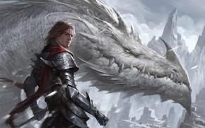 Picture dragon, fantasy, art, rider, Dragon Knight, Oliver Liu