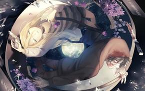 Picture girl, anime, pair, guy, Angel bloodshed, Satsuriku no Tenshi