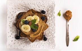 Picture plate, banana, sandwich, oil, toast, peanut