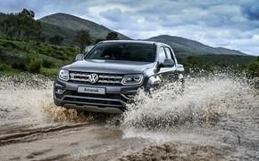 Picture sand, water, squirt, Volkswagen, pickup, Amarok, 2020