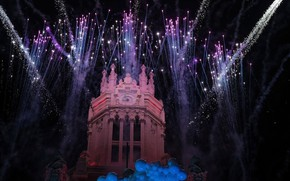 Picture holiday, fireworks, Spain, Madrid, Palacio de Comunicaciones
