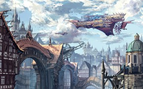 Picture Figure, The city, Building, City, Fantasy, Art, Fiction, Concept Art, Steampunk, Steampunk, Ship, Thomas Chamberlain …