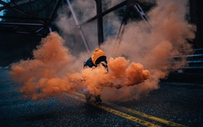 Picture Orange, Bridge, Men, Shadow, Smoke