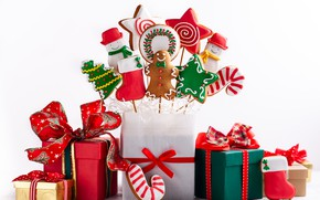 Picture holiday, new year, men, candy, gifts, decor, composition, gingerbread
