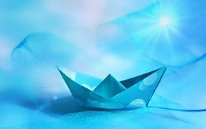 Picture blue, leaf, boat