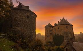 Picture the sky, sunset, castle, the evening, Belgium, medieval architecture, Reinhardstein Castle