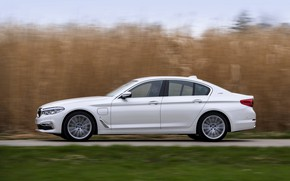 Picture white, grass, BMW, profile, sedan, hybrid, 5, four-door, 2017, 5-series, G30, 530e iPerformance