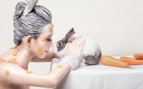 Picture girl, carrot, rabbit