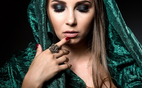 Picture girl, face, style, hand, makeup, ring, manicure, closed eyes, brocade