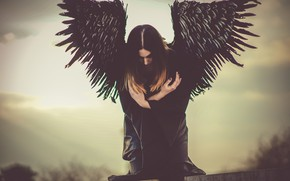 Picture girl, pose, woman, wings, angel, black