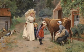 Picture 1908, French painter, French painter, Visits to the farm, Emile Dameron, Visit to the farm, …