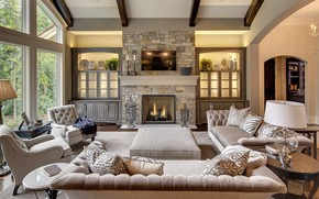 Picture Villa, interior, fireplace, living room, rustic family room, stone fireplace