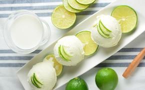 Picture milk, ice cream, lime, citrus, dessert