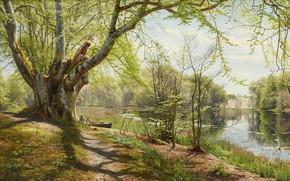 Picture 1897, Danish painter, Peter Merk Of Menstad, Peder Mørk Mønsted, Danish realist painter, Green spring …