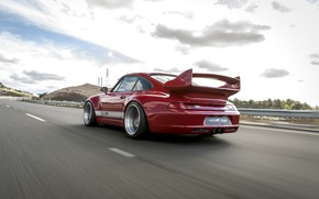 Picture road, red, movement, coupe, 911, Porsche, back, 993, 2017, Gunther Plant, 400R Coupe