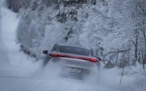 Picture snow, grey, speed, Porsche, feed, 2020, Taycan, Taycan 4S