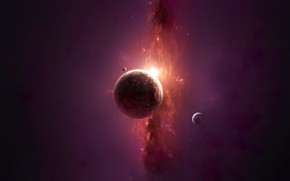 Picture space, sun, planet