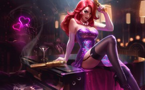 Wallpaper Gun, Dress, Stockings, Art, Beauty, Splash, League of Legends, Agent, LoL, Redhead, Artwork, League Of ...