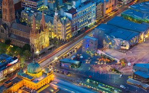 Picture lights, Australia, Melbourne, St. Paul's Cathedral, Federation Square, station Flinders street
