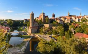 Picture road, the sky, the sun, trees, machine, bridge, home, Germany, river, Saxony, Bautzen