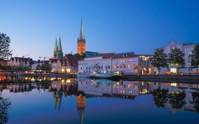 Picture bridge, the city, river, building, home, boats, the evening, Germany, lighting, tower, Hamburg