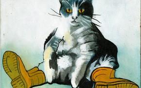 Picture Cat, Boots, Oil paint