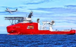 Picture Sea, The plane, The ship, Technique, Vessel, Offshore, Offshore Supply Ship, Supply Ship, Multi Purpose …