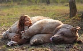 Picture nature, animal, predator, bear, girl, baby, child, Oksana Syrostan, Syrostan Oksana