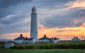 Picture sunset, coast, lighthouse, the evening, UK, Wales, Nash point lighthouse