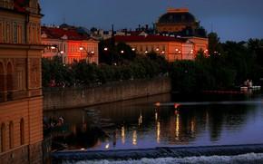 Picture trees, lights, river, home, the evening, Prague, Czech Republic, lights
