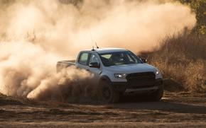 Picture white, Ford, dust, turn, Raptor, pickup, 2018, Ranger