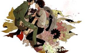 Picture flowers, fight, guys, Rakudo Mukuro, Katekyo Hitman reborn, Hibari Kyoya, Teacher mafia Reborn